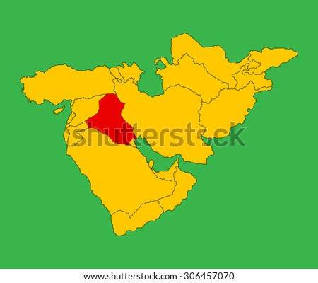 Iraq vector map silhouette illustration isolated on Middle east vector map.
