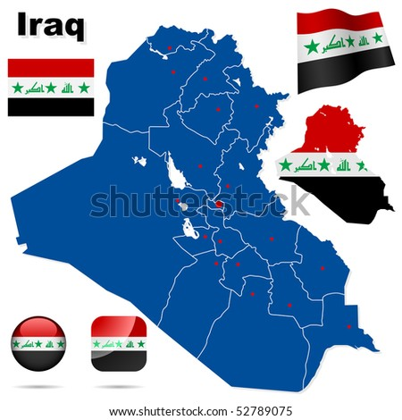 Iraq  vector set. Detailed country shape with region borders, flags and icons isolated on white background. - stock vector