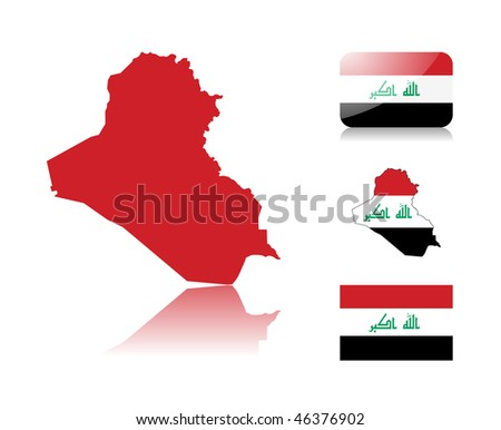 Iraqi map including: map with reflection, map in flag colors, glossy and normal flag of Iraq. - stock vector