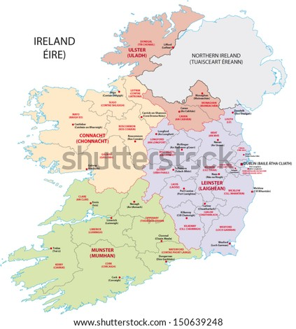ireland administrative map - stock vector