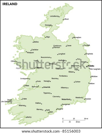 Ireland Country Map - stock vector