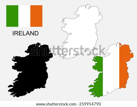 Ireland map and flag vector, Ireland map, Ireland flag - stock vector