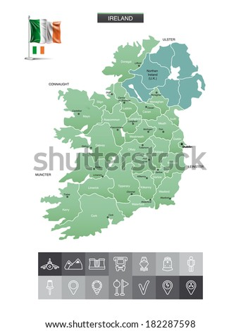 Ireland map and navigation icons. eps10 - stock vector
