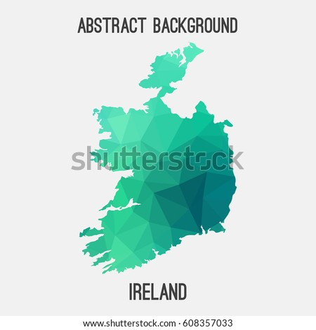Ireland map in geometric polygonal,mosaic style.Abstract tessellation,modern design background,low poly. Vector illustration.