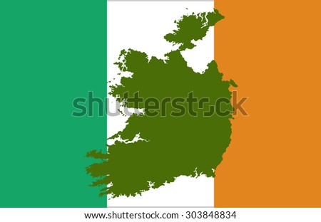 Ireland map on a flag background - stock vector