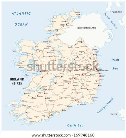 Ireland road map - stock vector