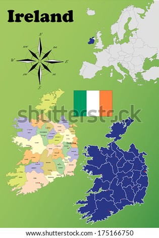Ireland vector set. Isolated. - stock vector