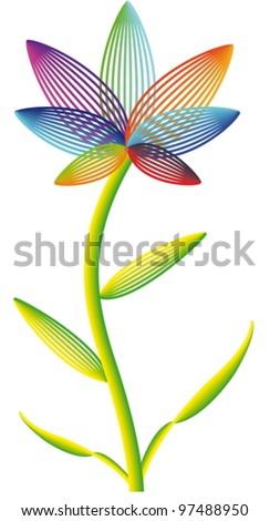 Iridescent vector flower - stock vector
