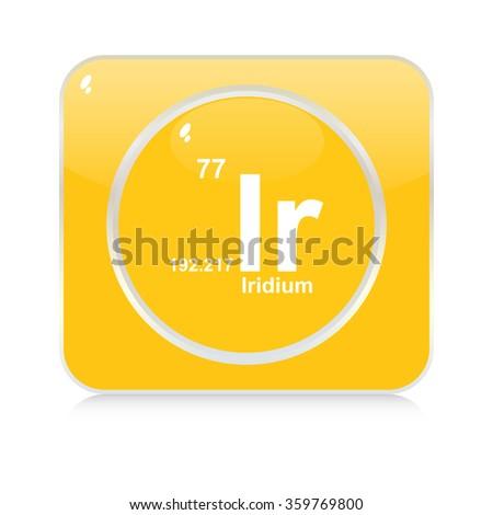 iridium chemical element button - stock vector