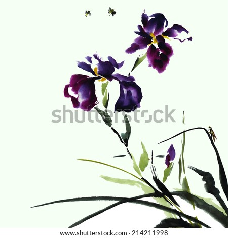 Iris flower and insects, watercolor, ink, oriental traditional painting, vector.  - stock vector