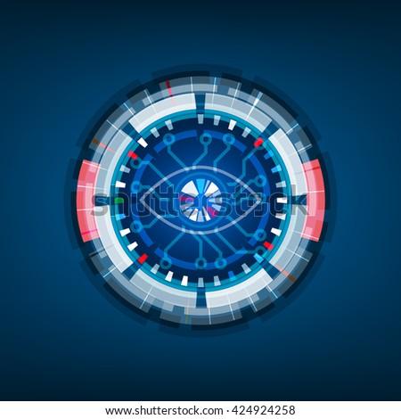 Iris scan technology, Retina Eye, Digital background, Vector illustration - stock vector