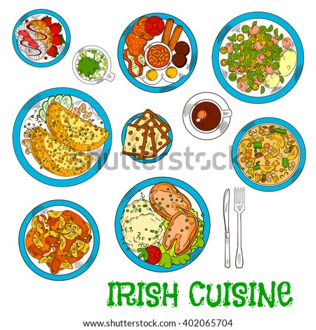 Irish cuisine dishes with vegetable lamb stew and potato pancakes boxty, potato stew coddle with sausages, mashed potato with fish, bread, meringue dessert with strawberries, green beer and coffee cup - stock vector