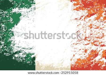 Irish flag Grunge background. Vector illustration Eps 8. - stock vector