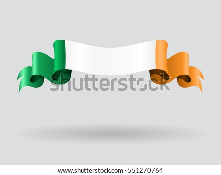 Irish flag wavy abstract background. Vector illustration.
