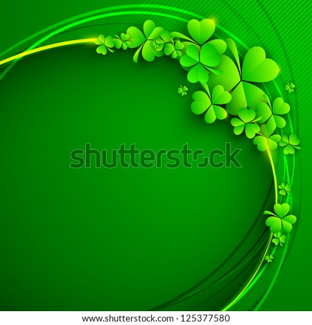 Irish four leaf lucky clovers background for Happy St. Patrick's Day. EPS 10. - stock vector