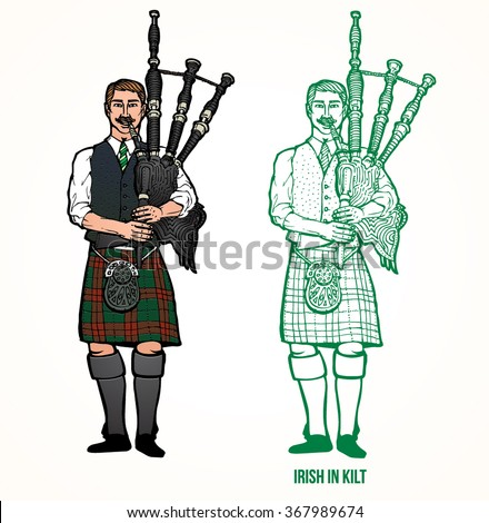 Irish man in kilt playing the bagpipe - stock vector