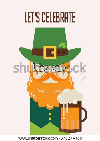 Irish man with beer, St. Patrick's Day design  - stock vector