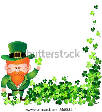 Irish man with Shamrock leaf frame for St. Patrick's Day card - stock vector