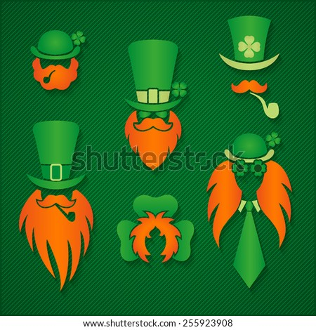 Irish people in hats leprechaun signs logos  St. Patrick Day vector illustration - stock vector