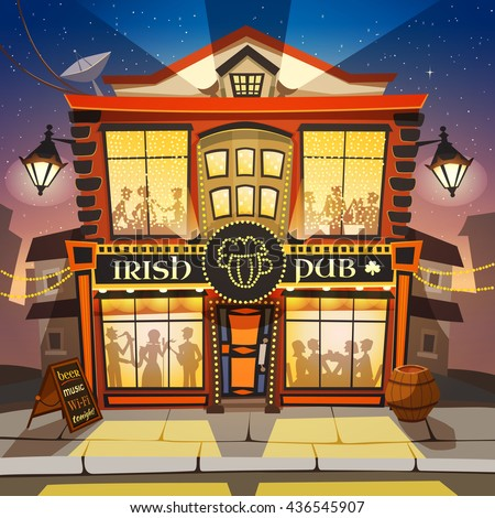Irish Pub Building Cartoon Background Vector Illustration