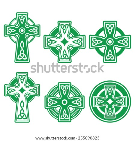 Celtic cross stock images royalty free images vectors irish scottish celtic green cross on white vector sign voltagebd Gallery