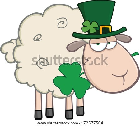 Irish Sheep Carrying A Clover In Its Mouth. Vector Illustration Isolated on white - stock vector
