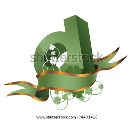 Irish St. Patrick's Day Alphabet Letter G With Ribbon and Clover EPS 8 vector, grouped for easy editing. No open shapes or paths. - stock vector