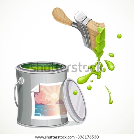 Iron bank with paint and brush splashes of green paint isolated on white background - stock vector