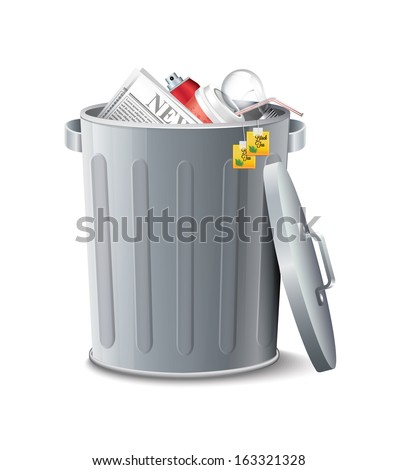 Iron Bin With Garbage - stock vector