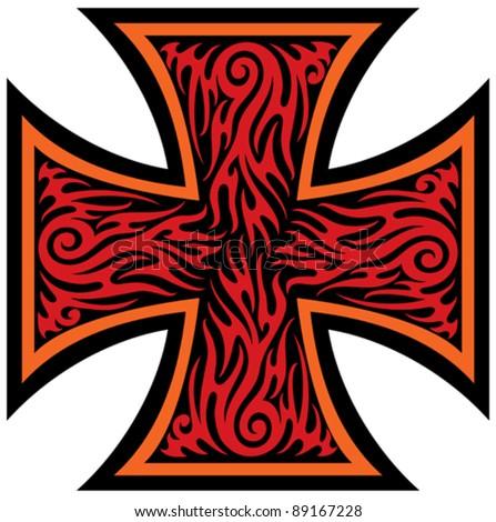 iron cross tattoo style (tribal style) - stock vector