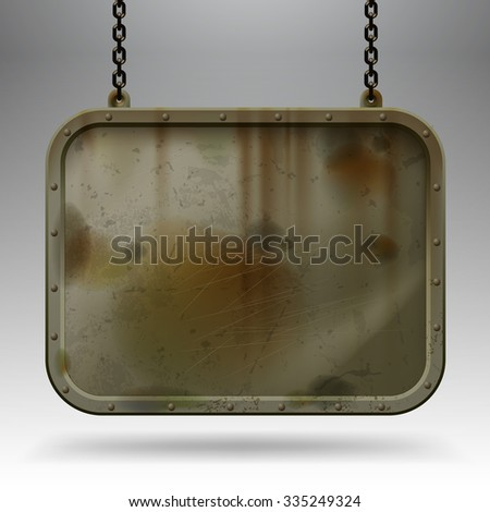 Iron dirty sign hanging on chains against a light gray background. Empty grunge framed banner. Vector illustration - stock vector