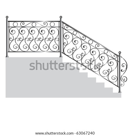 iron handrail isolated on white background - stock vector