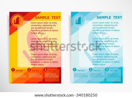 Iron icon on abstract vector modern flyer brochure vector for Ironing service flyer template