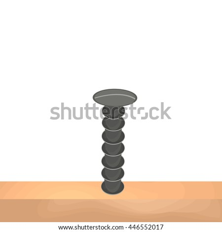 Iron screw into the wooden board. Construction theme. Vector illustration.