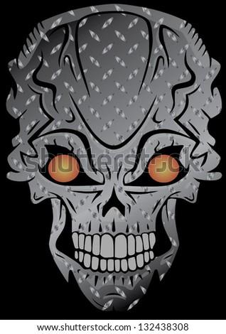 iron skull - stock vector