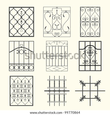 Iron window grills - stock vector