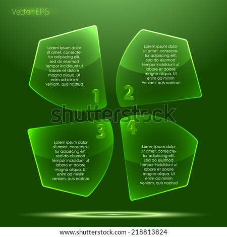 Irregular transparent glossy glass button set - stock vector