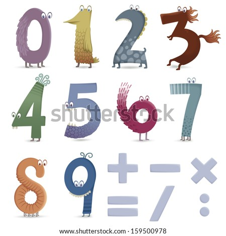 Is a one, or a bird, is it a dragon or a two? Some fun numbers, some animals that like adding, subtracting... File with transparencies and global colors. EPS10 Illustration. - stock vector