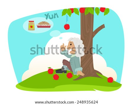 Isaac Applesauce - Cute Isaac Newton is sitting under an apple tree and getting ideas of applesauce and apple pie. Eps10 - stock vector