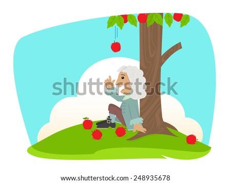 Isaac Newton - Cute Isaac Newton is sitting under an apple tree. Eps10 - stock vector