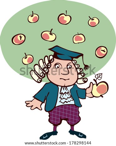 Isaac Newton thought, looking at the apple. Caricature of the great scientist - stock vector