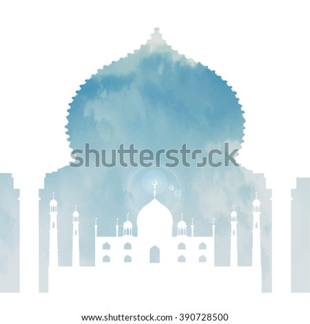 Islam,arabic,muslim background in arch.Vector Celebration card for Eid Ul Adha festival,Ramadan Kareem,holiday template.Mosque,day sky,clouds,gold Arabesque.Vintage Illustration.