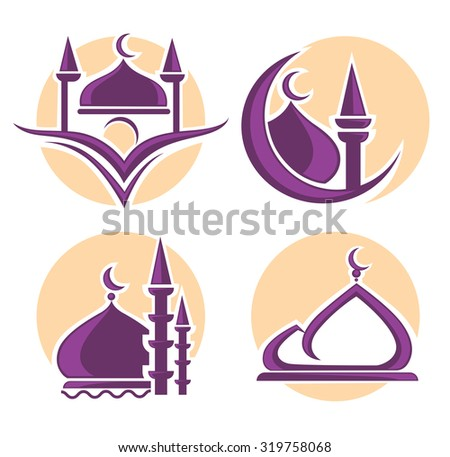 islam icons symbols and logo, vector collection - stock vector