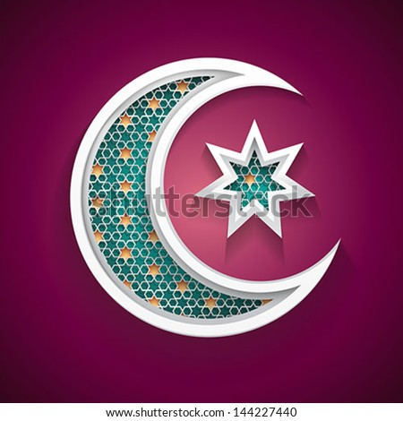 islamic background with a new moon and star vector - stock vector