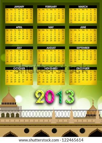 Islamic Calender 2013. EPS 10. - stock vector