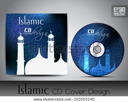Islamic CD cover design with Mosque or Masjid silhouette in blue color and floral patterns. EPS 10. Vector illustration. - stock vector