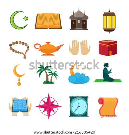 Islamic church traditional symbols icons set isolated vector illustration - stock vector