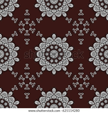 Islamic design. White pattern on brown background with white elements. Floral tiles. Vector white textile print. Seamless pattern oriental ornament.