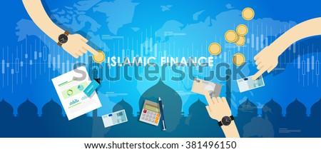 islamic finance economy islam banking money management concept sharia bank  - stock vector
