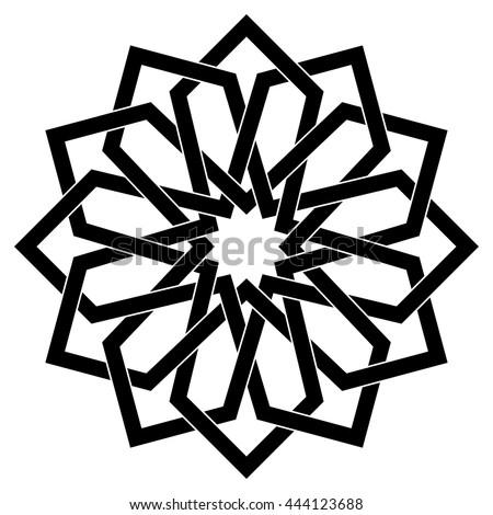 Islamic geometric art, arabic motif, sacred geometry, star mandala, vector illustration - stock vector
